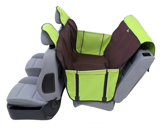 Kardiff Activ Mata samochodowa na tylne fotele z zamkiem i bokami L brązowo-zielona-2