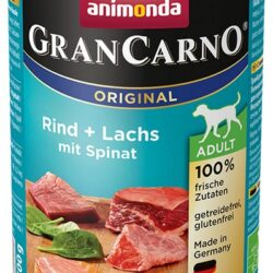Animonda GranCarno Adult Rind Lachs Spinat Wołowina, Łosoś + Szpinak puszka 400g-1