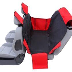 Kardiff Activ Mata samochodowa na tylne fotele z zamkiem i bokami S czarno-czerwona-1