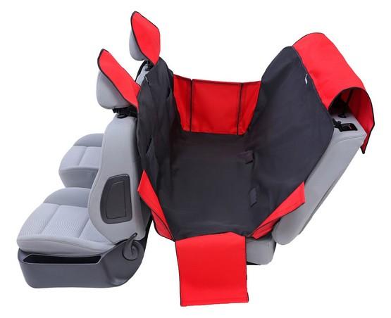Kardiff Activ Mata samochodowa na tylne fotele z zamkiem i bokami L czarno-czerwona-1