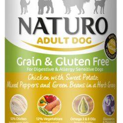 Naturo Adult Kurczak, ziemniaki, papryka i fasolka w sosie puszka 390g-1