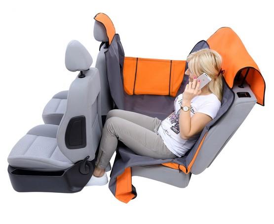 Kardiff Activ Mata samochodowa na tylne fotele z zamkiem i bokami L brązowo-zielona-3