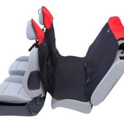 Kardiff Activ Mata samochodowa na tylne fotele z zamkiem L czarno-czerwona-1